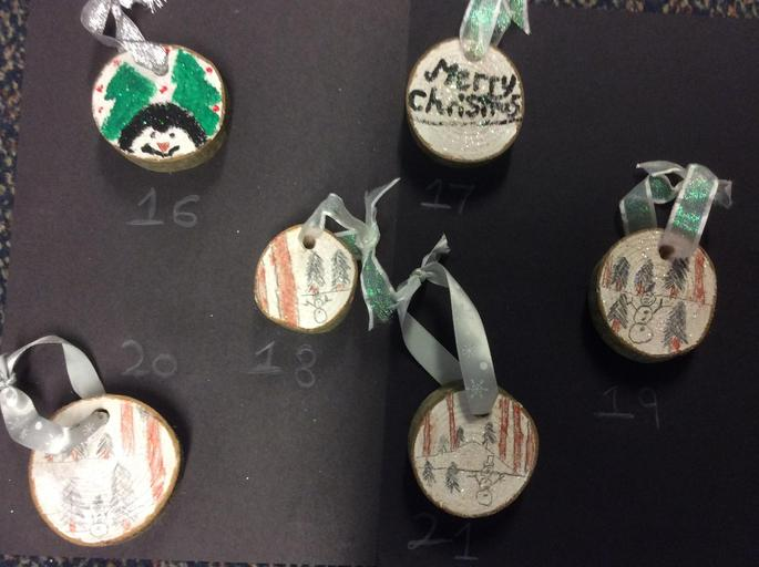 Wooden Hanging Christmas Tree Decorations - £1.00 each      Number 16 & 21 SOLD