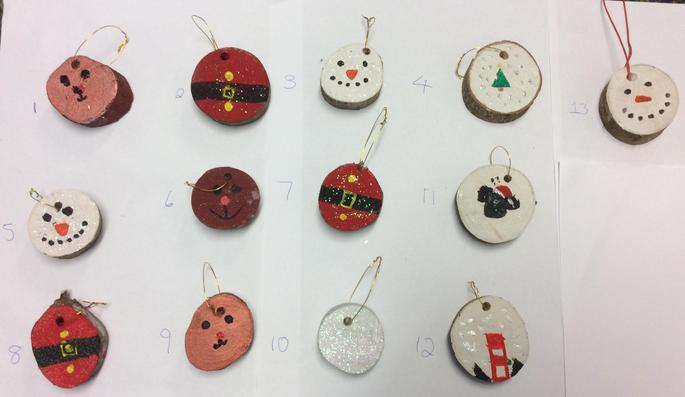 Hanging Christmas Tree Decorations - £1.25 each   Numbers: 2, 3, 4, 7, 8, 9 & 10 SOLD