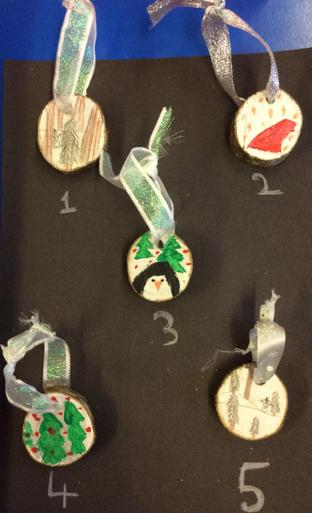 Small Wooden Hanging Christmas Tree Decorations - 75p each    Number 3 & 5 SOLD