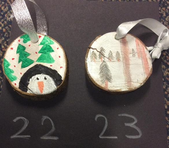 Large Wooden Hanging Christmas Tree Decorations - £1.25 each      Number 22 SOLD