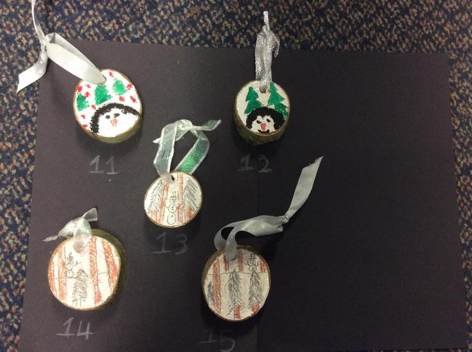 Wooden Hanging Christmas Tree Decorations - £1.00 each    Number 12 & 15 SOLD