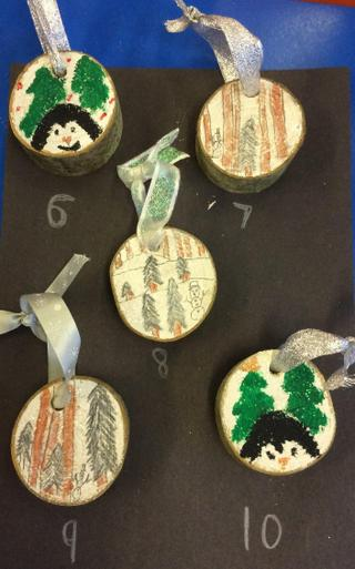 Wooden Hanging Christmas Tree Decorations - £1.00 each    Number 6, 8, 9 & 10 SOLD