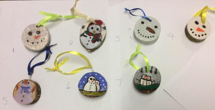 Snowmen Hanging Christmas Tree Decorations - 75p each  Numbers: 2 & 6 SOLD