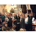 Year 3 recited an anagram poem making words form HARVEST