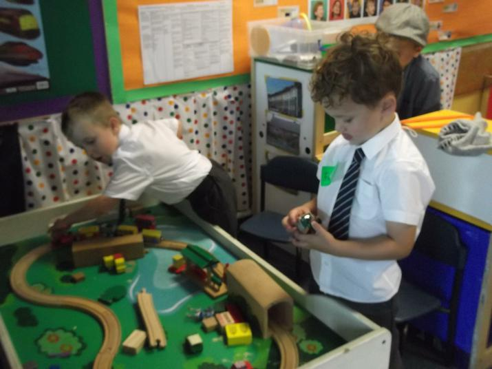 We played with the trains.