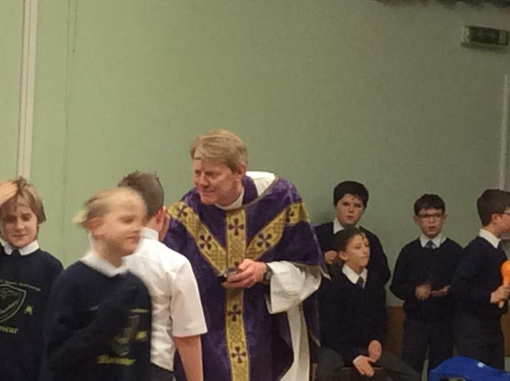 Father David at the School Ashing Service