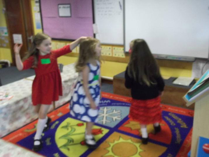 We danced on the carpet.