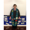Reverend Jan wearing the leavers service stole