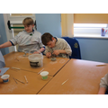 We used clay to make a pot or sculpture