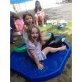 Having fun paddling in the water