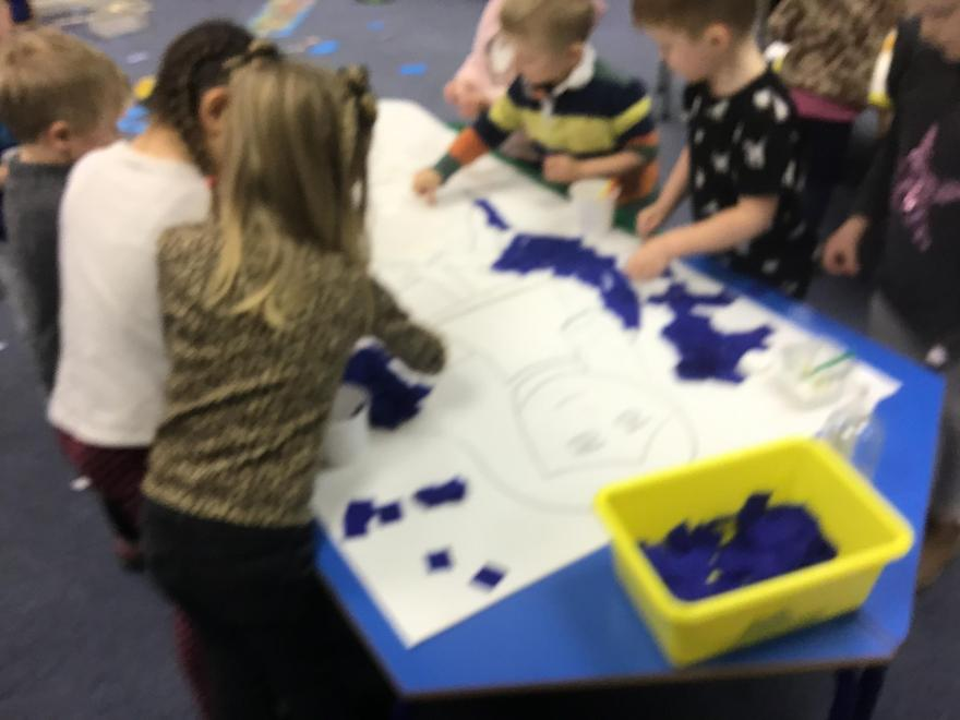 Doves class busy completing their Christmas art