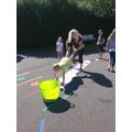 We did wheelbarrow painting
