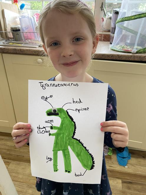 Drawing and labeling a dinosaur