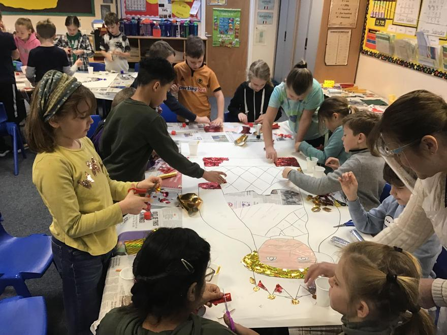 Eagles class busy completing their Christmas art