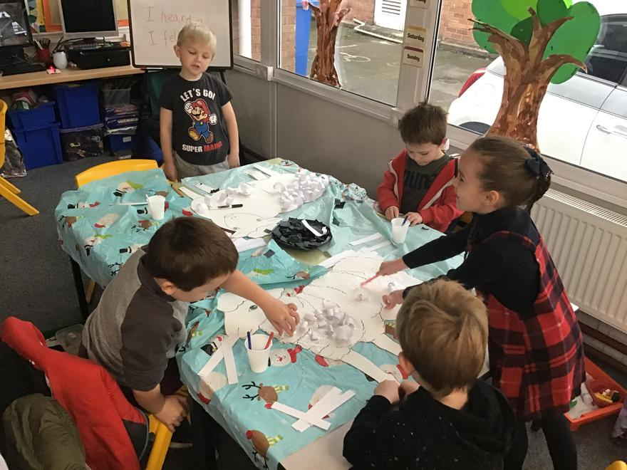 Puffins class busy completing their Christmas art