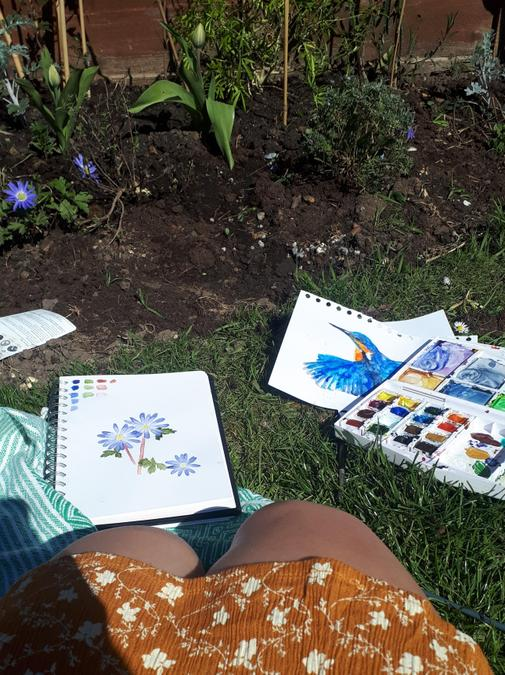 ..and painting in the garden!