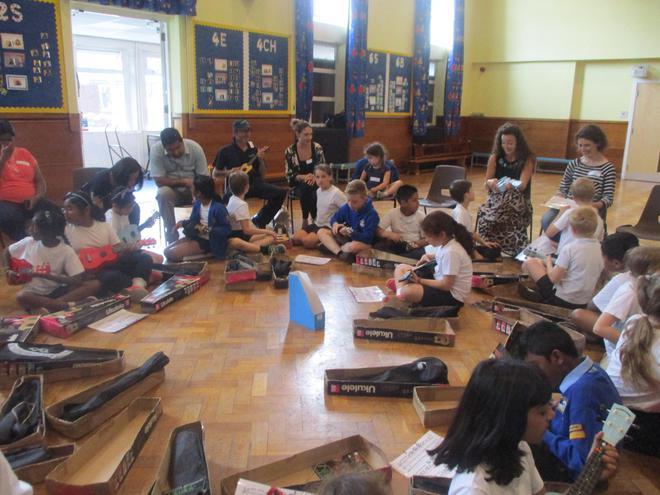 Ukulele orchestra.