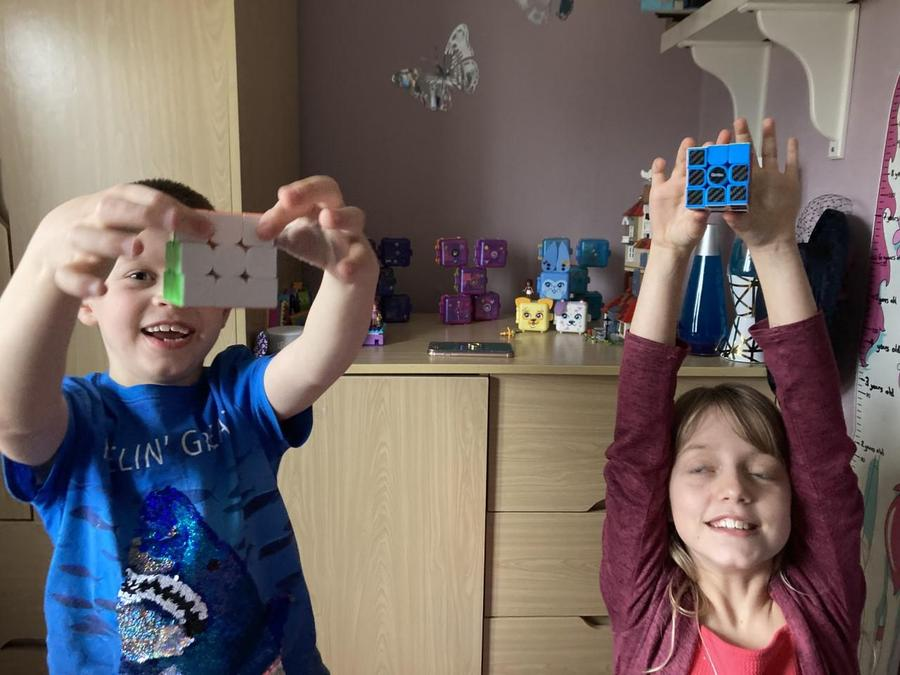 Isobel and Joe completed a rubik cube challenge with the record of 1 minute 47 seconds!