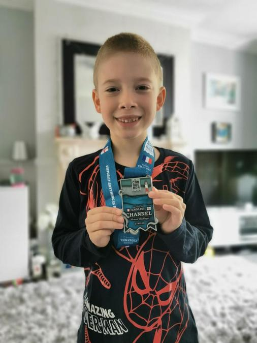Theo (Yr 3) completed a walking challenge of walking the distance between the UK to France