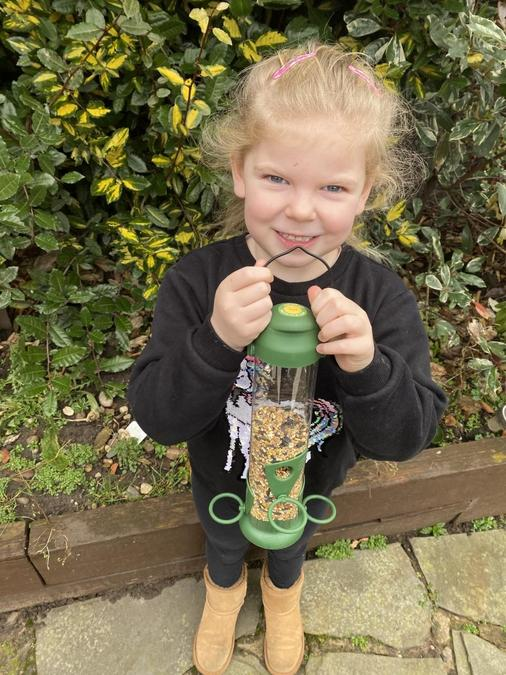 Grace (Reception) loved exploring nature and especially enjoyed feeding and watching birds