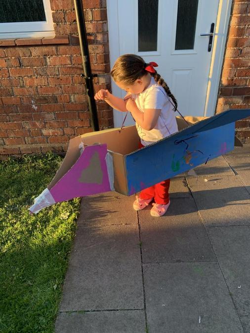 Marnie got creative and made a magnificent spaceship!