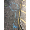 Mohammed drew this amazing chalk flower!