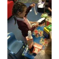 We sorted rubbish and reused some to make models