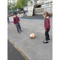 Ball skills in PE.