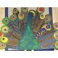 We painted feathers to create a beautiful peacock
