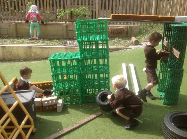 We love constructing models in the garden.