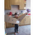 Finley doing an interesting experiment with boxes.