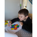 Finley enjoyed colouring his picture and his nose!