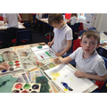 Practising our tinting and shading with paint