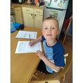 Luca enjoying doing his time capsule work!