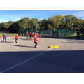 Playing hockey with the South Ribble coach