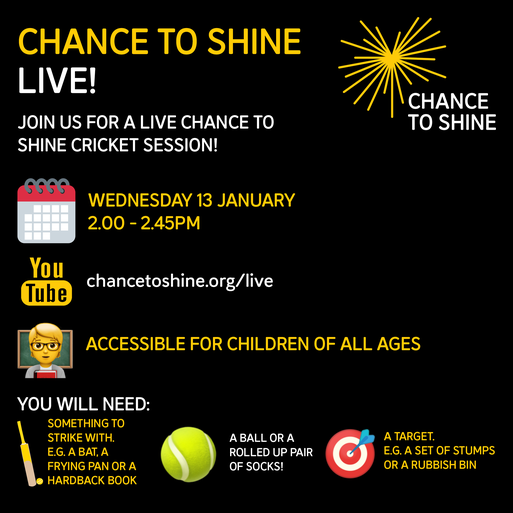 If you wish to join in with a live cricket session, please follow the link displayed