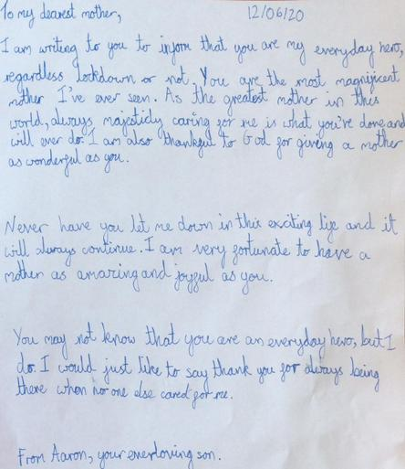 Aaron's lovely letter to his 'Everyday Hero'- his mum!.jpeg