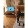 Leo doing his daily workout with Joe Wicks!