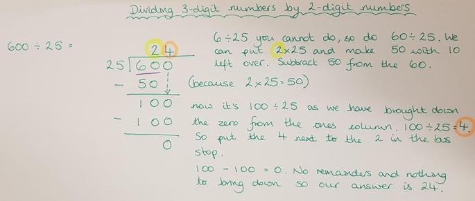 Dividing a 3-digit number by a 2-digit number