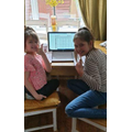 Leah and Freya working hard.