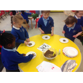 Writing 'ch' in melted chocolate - Yummy!