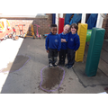 Making puddles and watching them evaporate.
