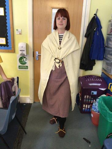 Miss Westbrook dressed Mrs Mac up as an Anglo Saxon woman!