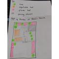 birds eye plan of Basil's garden