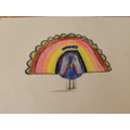 An amazing drawing of a peacock!