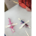 pipe cleaner legs and tape for wings - done!