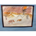 We looked at cave paintings and made our own.