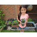 Grace keeping busy in the garden!