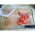 tomatoes chopped ready to plant