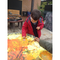 Leaf printing & Colour mixing